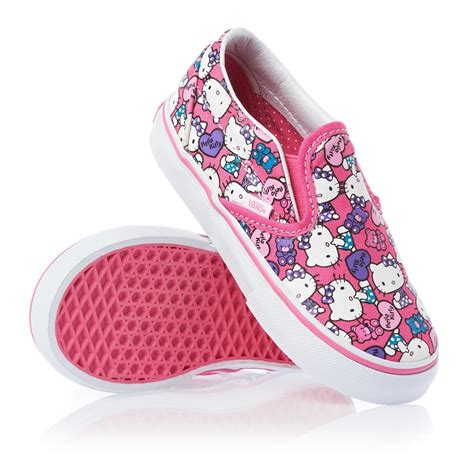 Hello Sneakers vans classic slip on shoes hello azelea pink true white free delivery