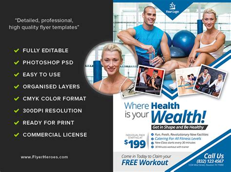 fitness flyer template flyerheroes