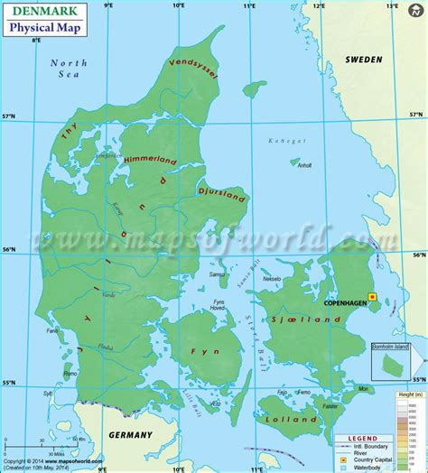 labeled outline map rivers homeschool geography physical map of denmark