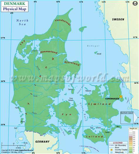 physical map of denmark physical map of denmark
