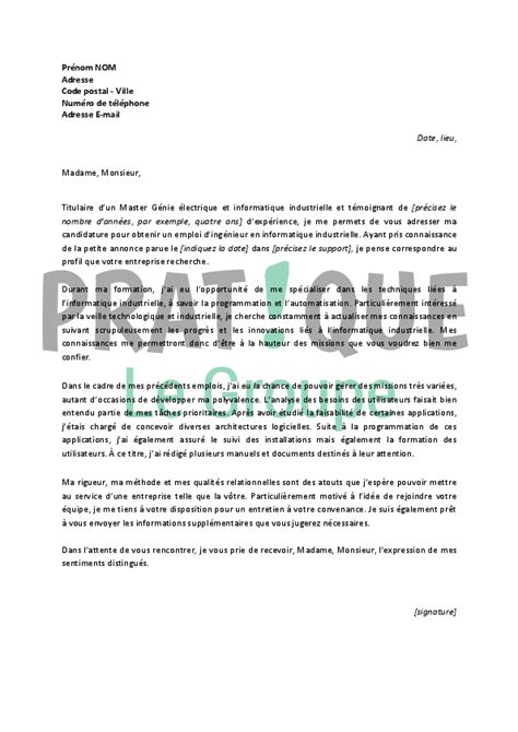 modele lettre de motivation ingenieur informatique document