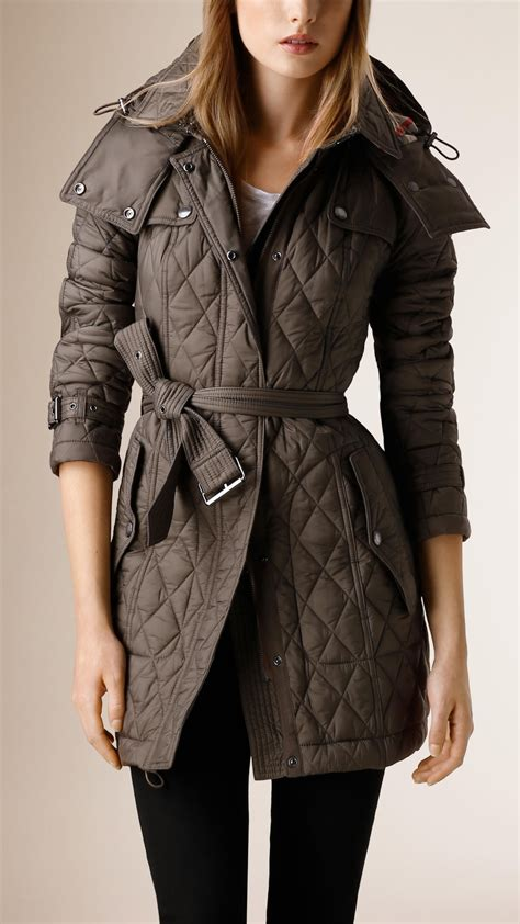 burberry quilted coat in gray lyst