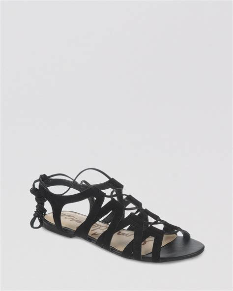 Lace Up Flat Sandals lyst sam edelman open toe flat lace up gladiator sandals