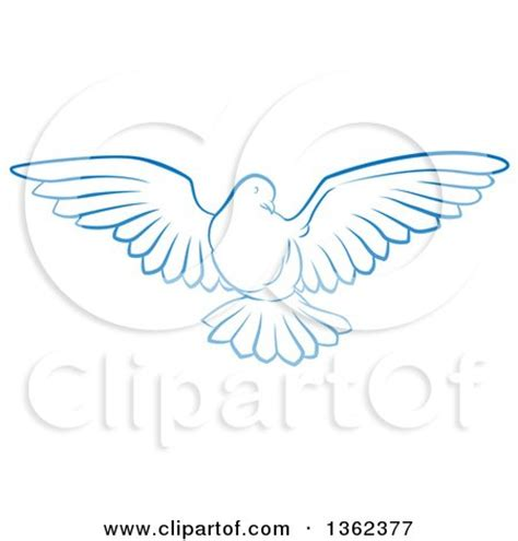 clipart of a gradient blue dove flying royalty free