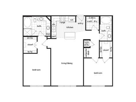 2 bedroom 1 bath floor plans imgs for gt two bedroom two bath apartment floor plans