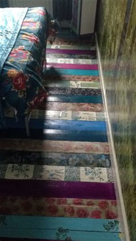 Decoupage Floors Diy - decoupage floor using wallpaper with backing removed
