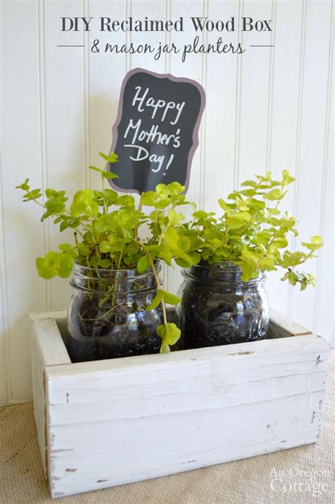 diy gift reclaimed wood box mason jar planters