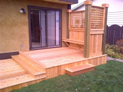 Custom Patio Cushions Edmonton Custom Cedar Deck With Privacy Screen And Built In Bench