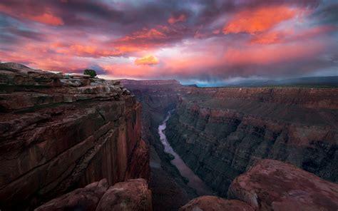 sunset red sky grand canyon national park  arizona usa lipan point wide view   canyon