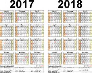 2 Year Calendar 2017 2018 Calendar Free Printable Two Year Pdf Calendars