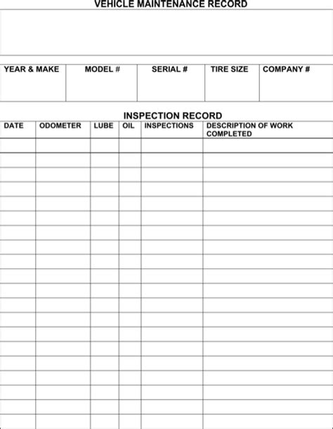 download vehicle maintenance log for free formtemplate