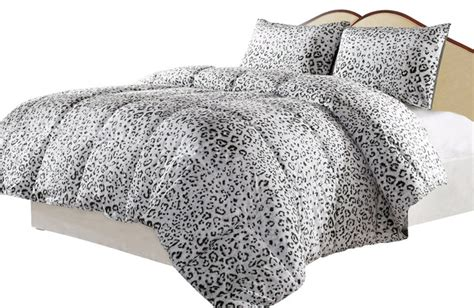 snow leopard reversible down alternative comforter set