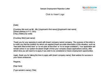 Business Writing Refusal Letter image gallery reject application