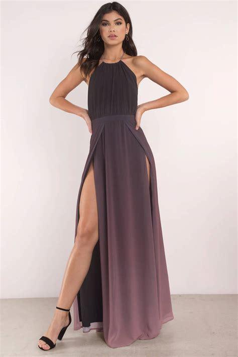 Maxi Dress Blink black multi dress halter neckline high slit dress