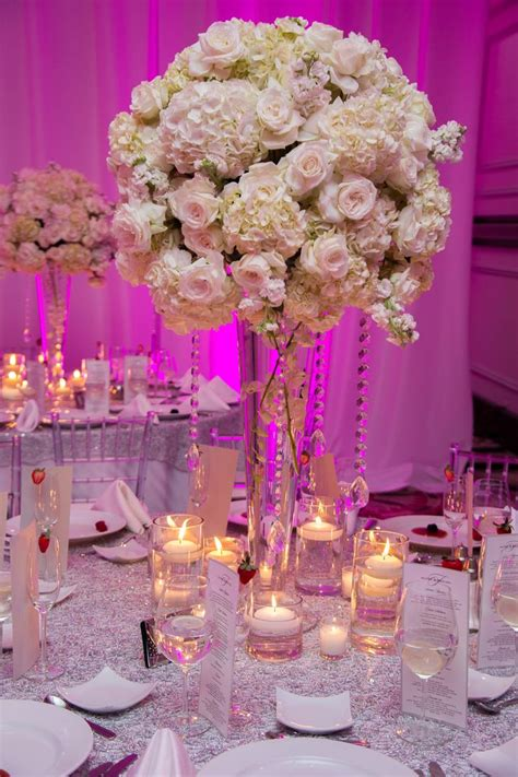 grand white hydrangea rose and crystal centerpieces