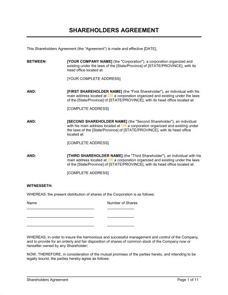 simple shareholder agreement template shareholders agreement template sle form biztree