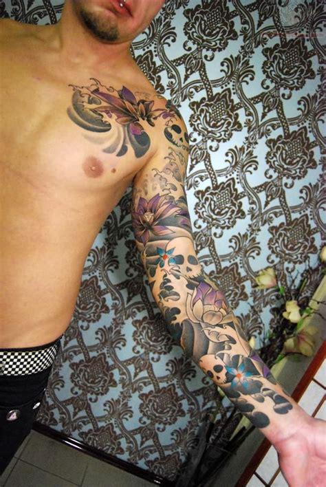 tattoo skull sleeve designs skull and flower sleeve design busbones