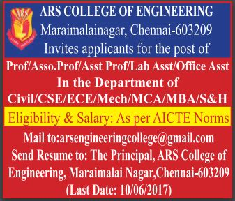Wso 2 Years Of Exp Wait For Mba by Ars College Of Engineering Chennai Wanted Faculty Plus