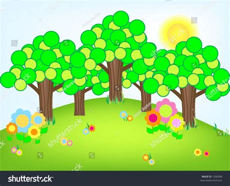 funky trees funky trees and flowers landscape stock vector