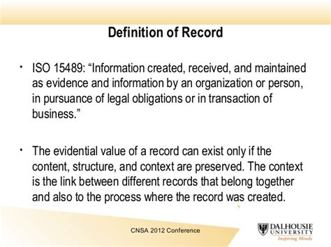 Definition Of Records Records Continuum Model