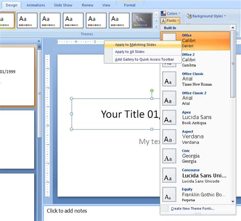 tutorial editing powerpoint delete a custom theme effects or fonts theme font