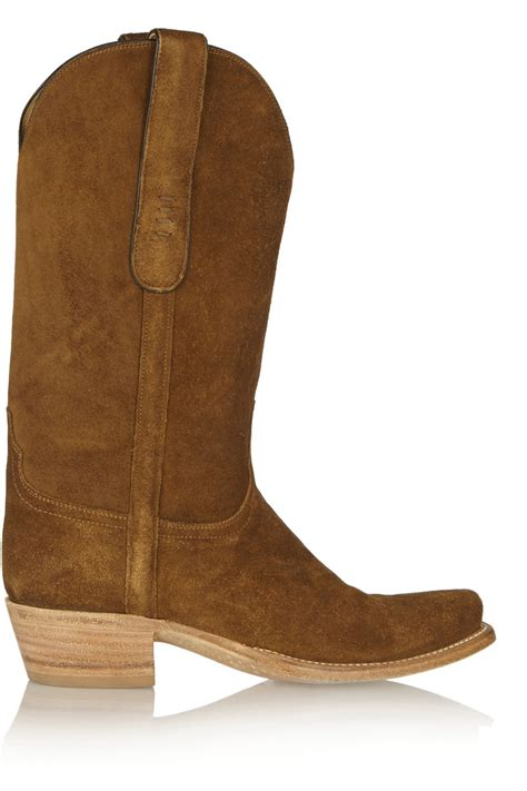 lucchese romia suede western boots in brown lyst