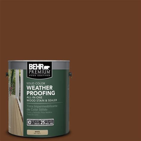 behr premium 1 gal sc 110 chestnut solid color weatherproofing all in one wood stain and