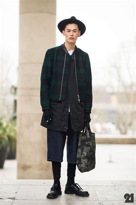 Jaket Wash Koreanstyle korean model showing us his cool layered up he pulls the mix of formal and