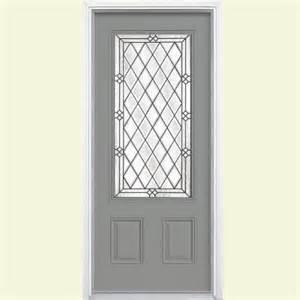 Home Depot Exterior Doors Fiberglass Masonite 36 In X 80 In Halifax Three Quarter Rectangle