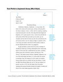 Writing Sle Essays by Best Photos Of Standard Mla Format Exle Mla Format Page Sle Mla Format Essay
