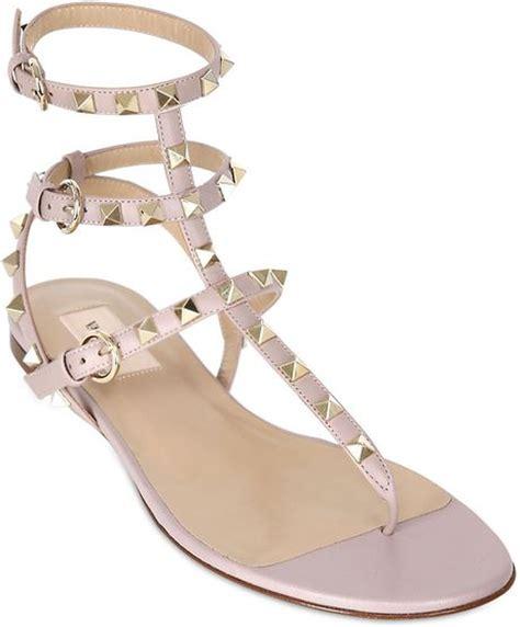 valentino studded sandals valentino 10mm studded sandals in beige lyst