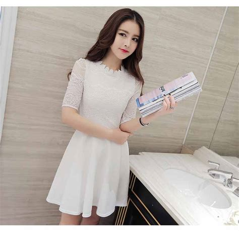 Dress Import Korea dress putih cantik korea import 2016 myrosefashion