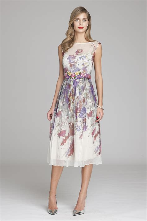 Floral Print Chiffon Dress chiffon floral printed dress teri jon