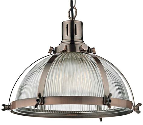 Dar Debut Copper Industrial Style Ribbed Glass Pendant Ribbed Glass Pendant Light