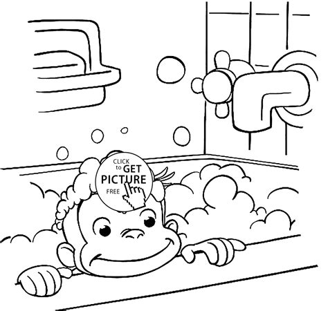 free coloring pages curious george monkey curious george is bathing coloring pages for kids