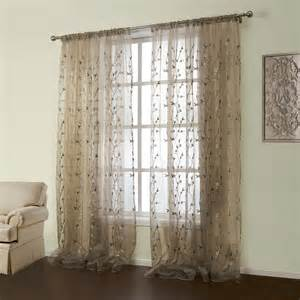 Country Sheer Curtains Curtains Sheer Curtains One Panel Country Embroidered Brown Floral Pattern Polyester