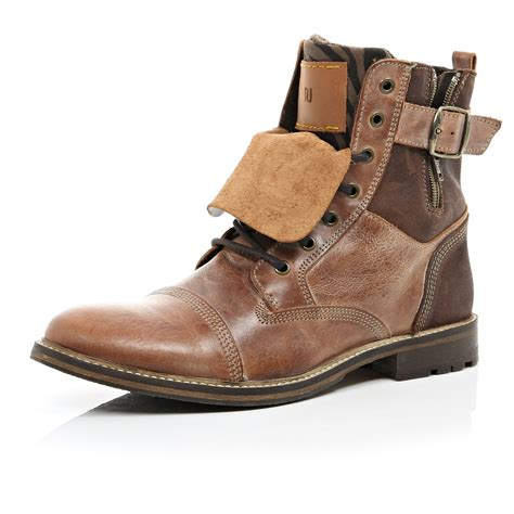 distressed boots river island brown leather distressed boots in brown for