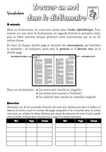Vocabulaire Recherche dans le dictionnaire | FRENCH