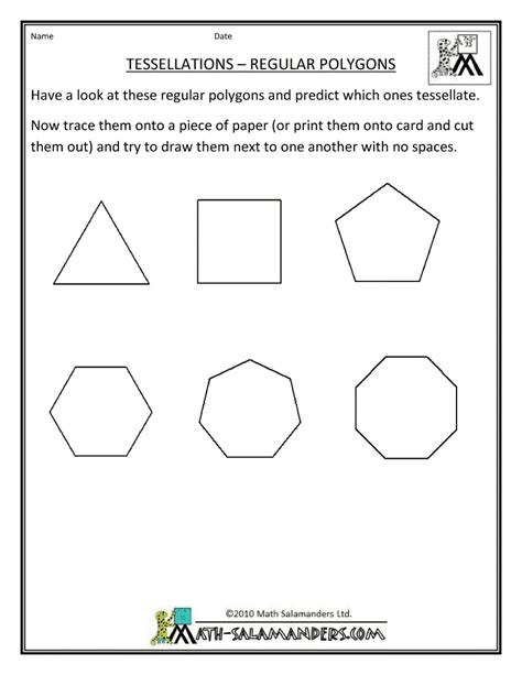 tessellation pattern worksheet polygon worksheet printable geometry sheets tessellation