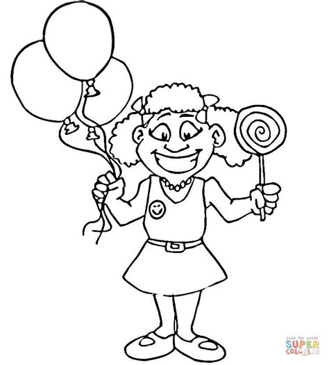 Happy Girl With Lollipop Coloring Page Free Printable Happy Coloring Page