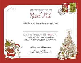 santa claus certificate template santa s list certificate