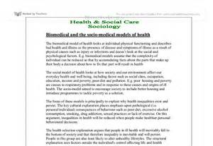 Social Model Of Health Essay by Biomedical And The Socio Models Of Health A Level Sociology Marked By Teachers