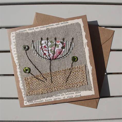 Sewn Cards Handmade - handmade sewn fabric blank card botanical flower
