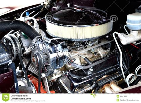 Classic muscle car engine stock photo. Image of truck