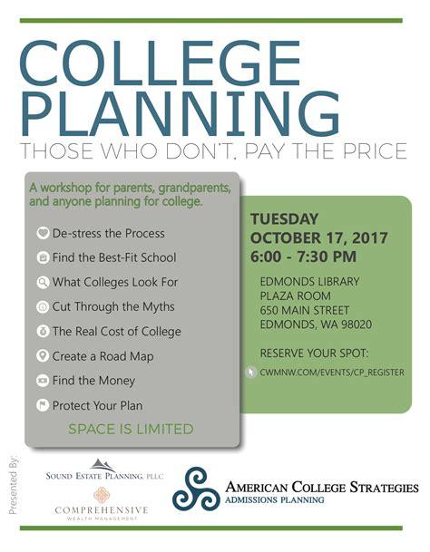 college planning reminder free workshop oct 17 on college planning
