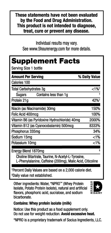5 energy drink ingredients 5 hour energy 174 protein