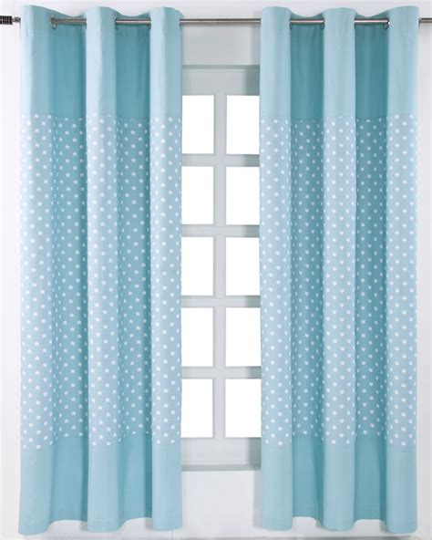 blue curtains with stars cotton stars blue ready made eyelet curtain pair homescapes