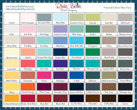 color chart dixie color chart addition sku dbcc
