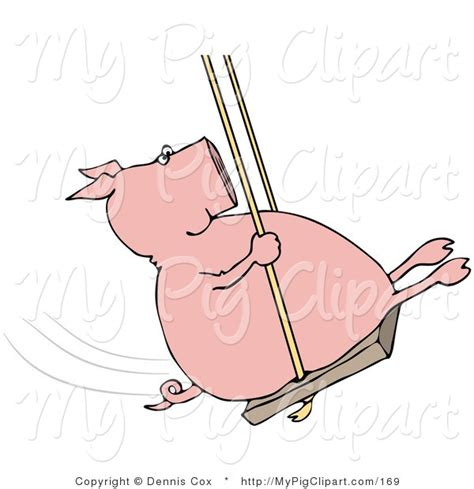 swinging pig swine clipart of a playful pig swinging back and forth by