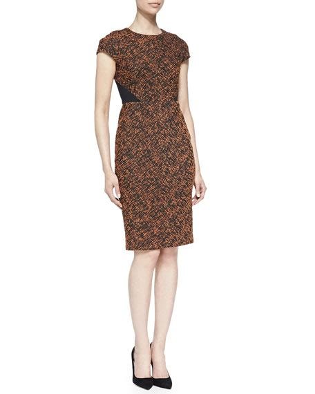 Sleeve Panel Printed Dress j mendel printed cap sleeve dress with solid back panel